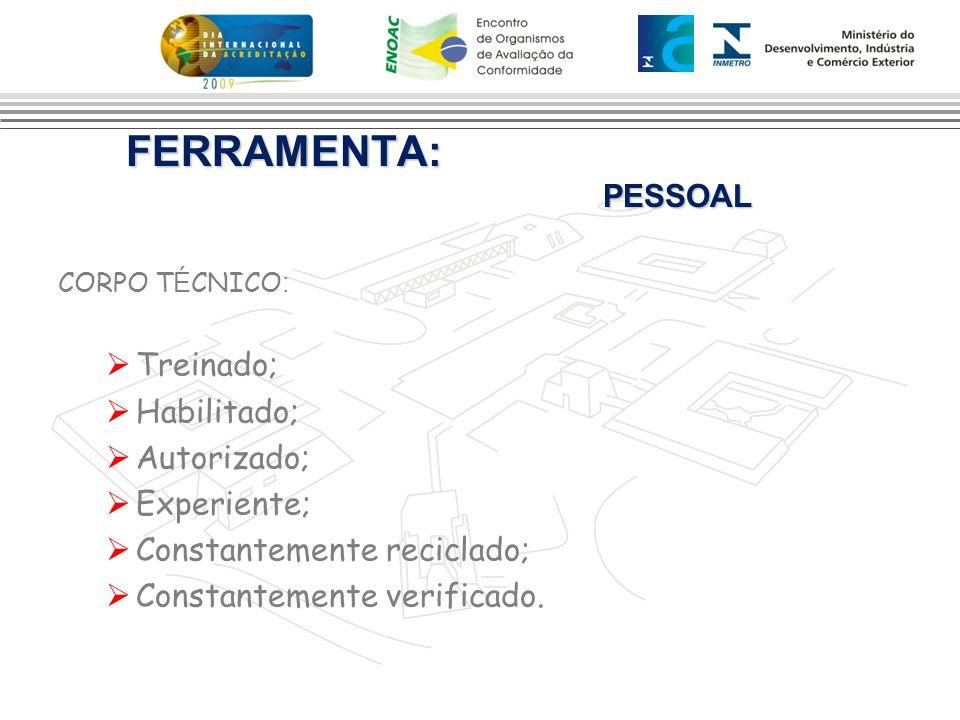 FERRAMENTA: PESSOAL Treinado; Habilitado; Autorizado; Experiente;
