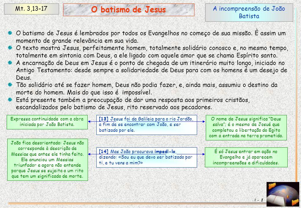 O batismo de Jesus Mt. 3,13-17 A incompreensão de João Batista