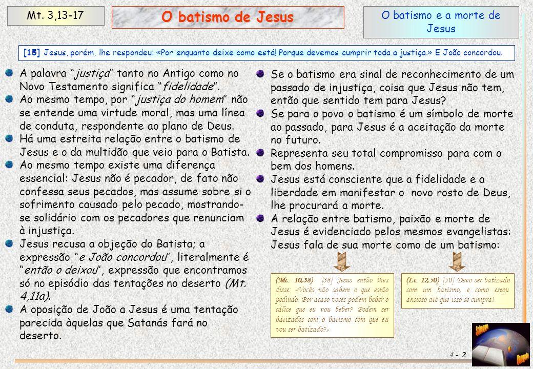 O batismo e a morte de Jesus