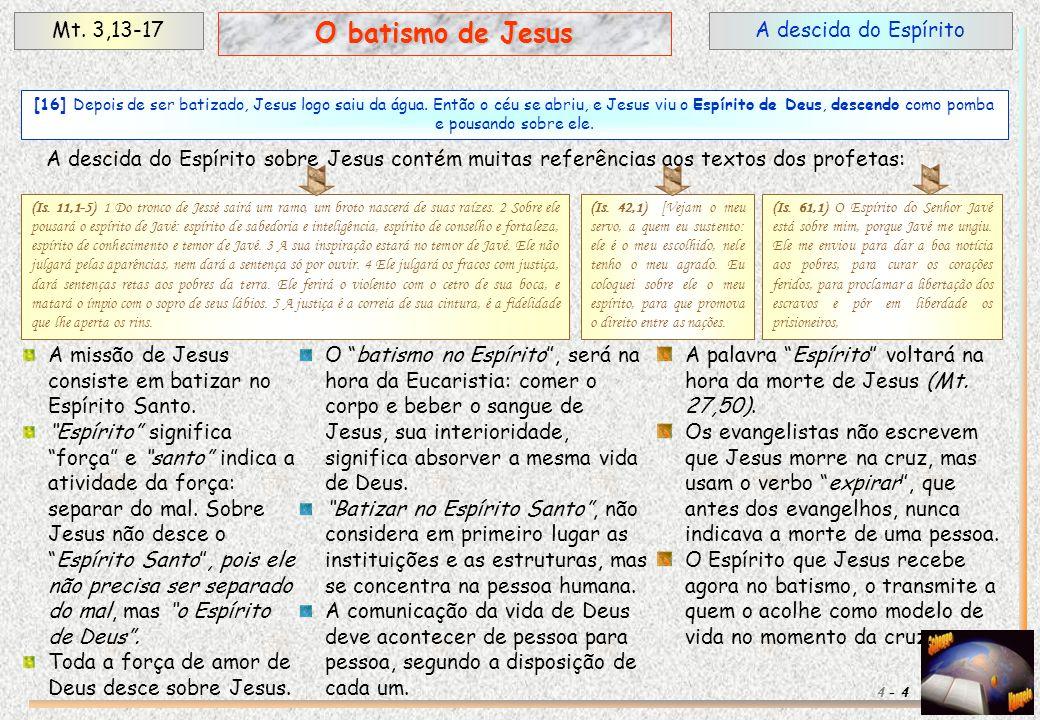 O batismo de Jesus Mt. 3,13-17 A descida do Espírito