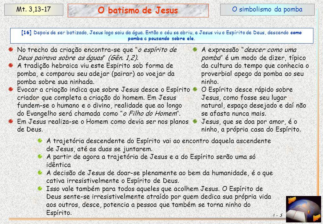 O batismo de Jesus Mt. 3,13-17 O simbolismo da pomba