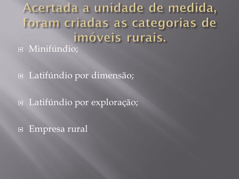 Acertada a unidade de medida, foram criadas as categorias de imóveis rurais.