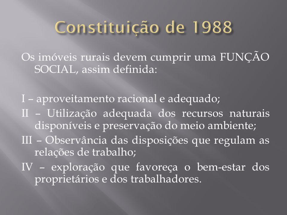 Constituição de 1988 Os imóveis rurais devem cumprir uma FUNÇÃO SOCIAL, assim definida: I – aproveitamento racional e adequado;