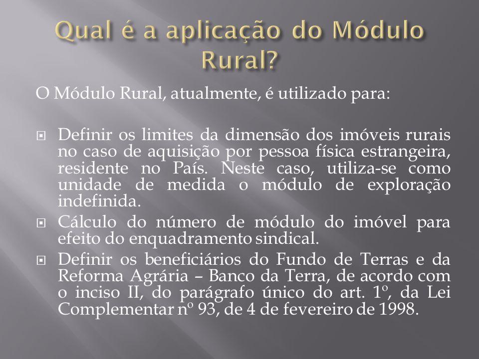Qual é a aplicação do Módulo Rural