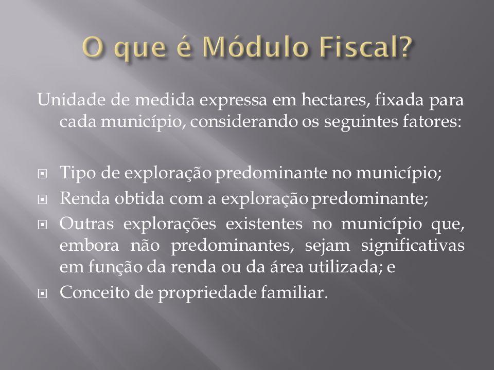O que é Módulo Fiscal Unidade de medida expressa em hectares, fixada para cada município, considerando os seguintes fatores: