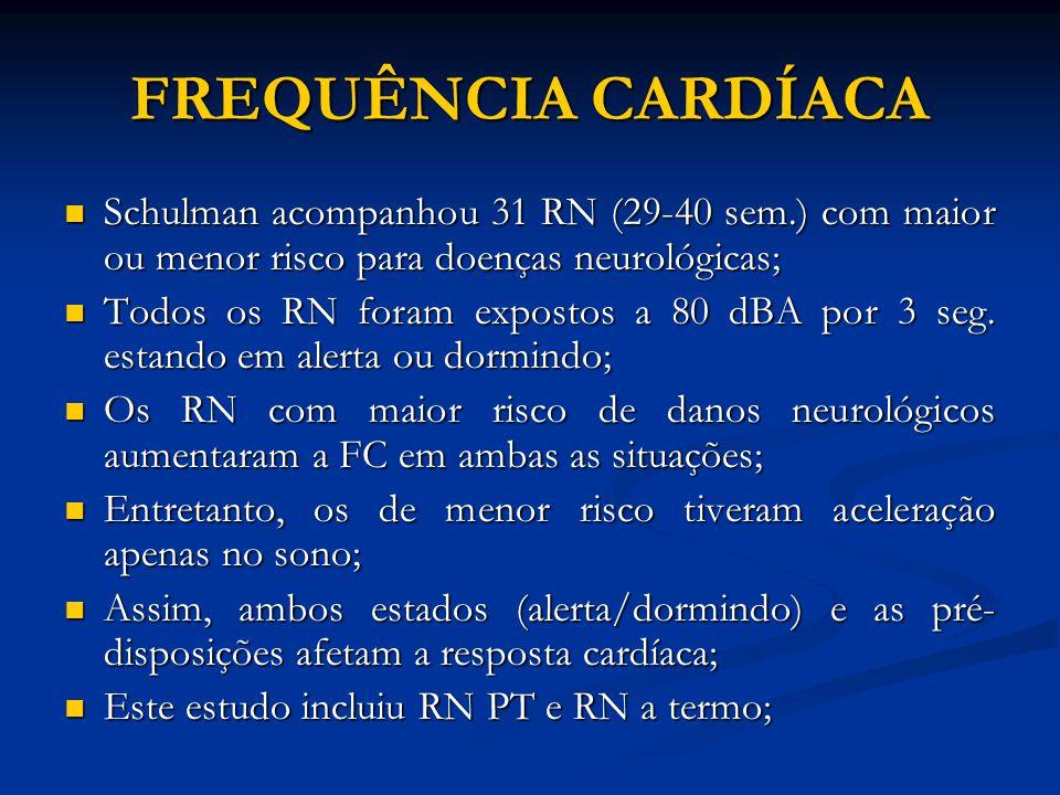 FREQUÊNCIA CARDÍACA Schulman acompanhou 31 RN (29-40 sem.) com maior ou menor risco para doenças neurológicas;