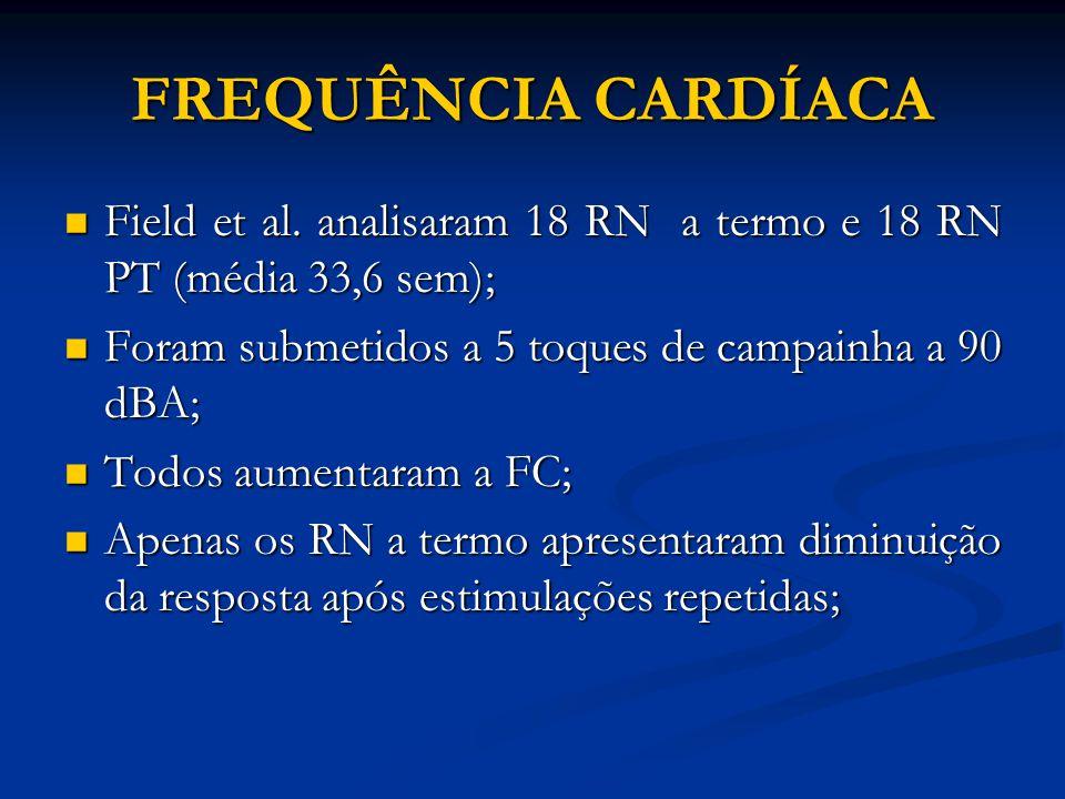 FREQUÊNCIA CARDÍACA Field et al. analisaram 18 RN a termo e 18 RN PT (média 33,6 sem); Foram submetidos a 5 toques de campainha a 90 dBA;