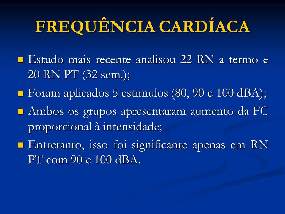 FREQUÊNCIA CARDÍACA Estudo mais recente analisou 22 RN a termo e 20 RN PT (32 sem.); Foram aplicados 5 estímulos (80, 90 e 100 dBA);