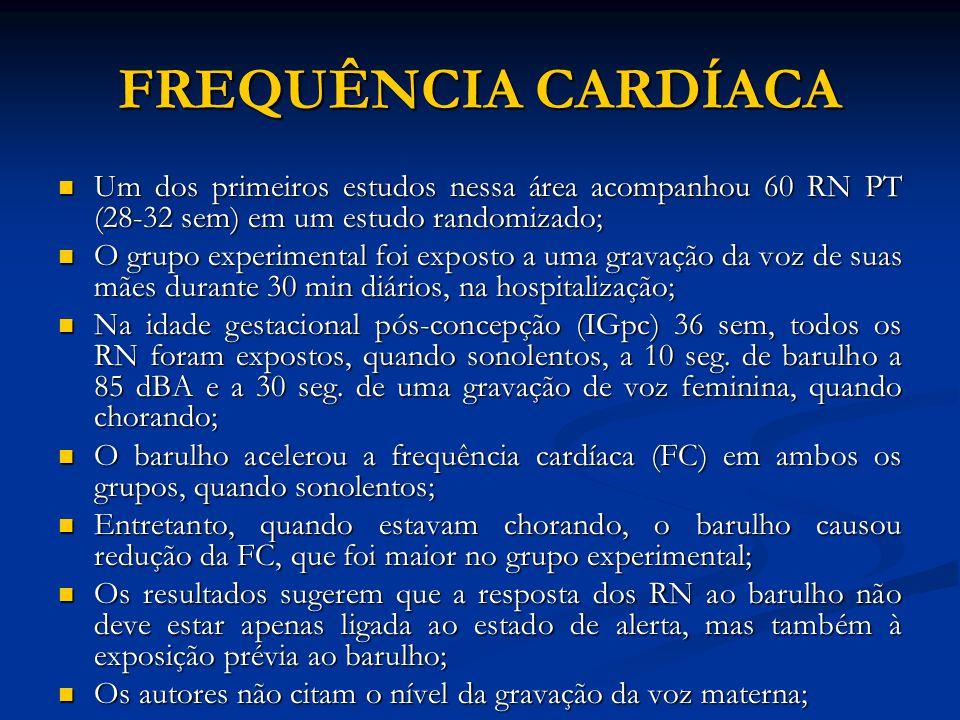 FREQUÊNCIA CARDÍACA Um dos primeiros estudos nessa área acompanhou 60 RN PT (28-32 sem) em um estudo randomizado;