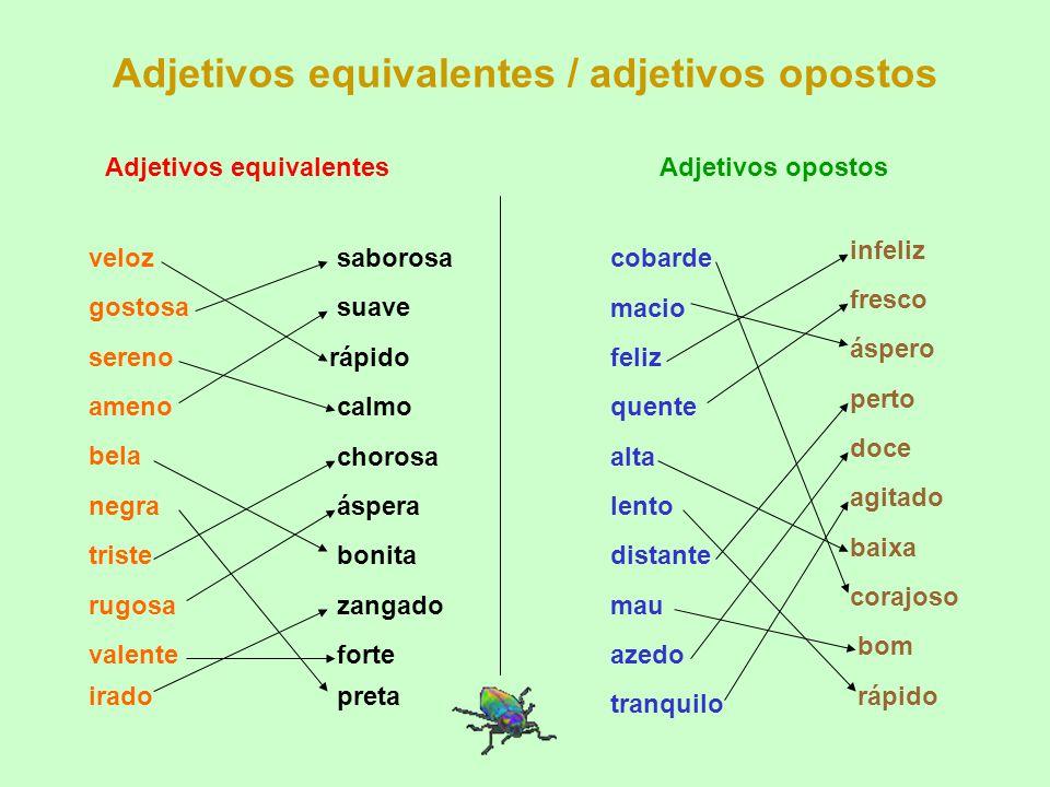 Adjetivos equivalentes / adjetivos opostos