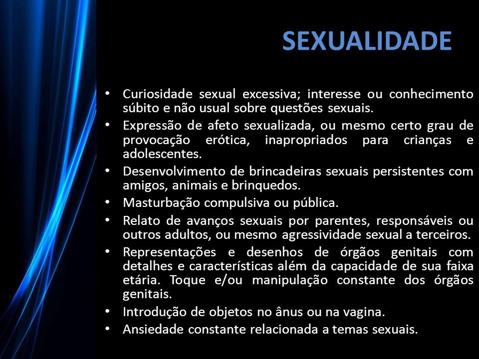 SEXUALIDADE Curiosidade sexual excessiva; interesse ou conhecimento súbito e não usual sobre questões sexuais.
