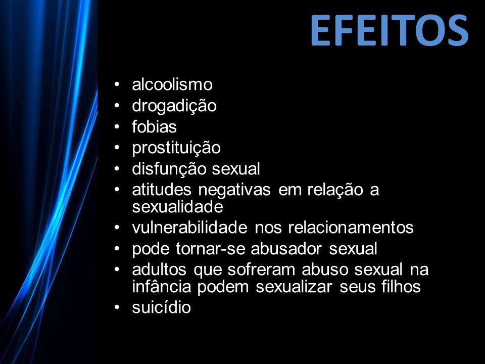 EFEITOS alcoolismo drogadição fobias prostituição disfunção sexual