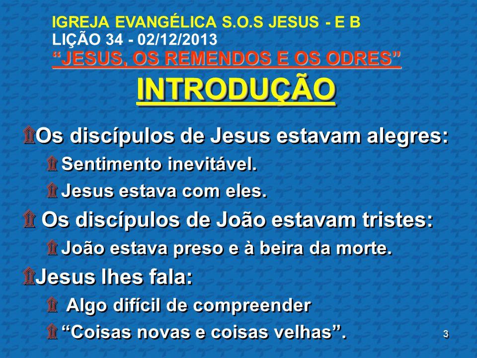 INTRODUÇÃO Os discípulos de Jesus estavam alegres: