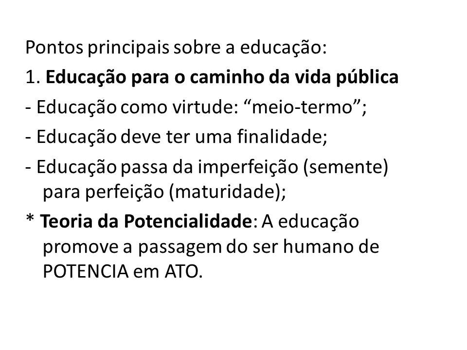 Pontos principais sobre a educação: