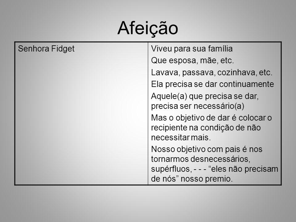 Afeição Senhora Fidget Viveu para sua família Que esposa, mãe, etc.