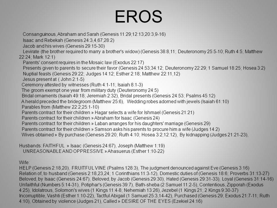 EROS Consanguinous, Abraham and Sarah (Genesis 11:29;12:13;20:3,9-16)
