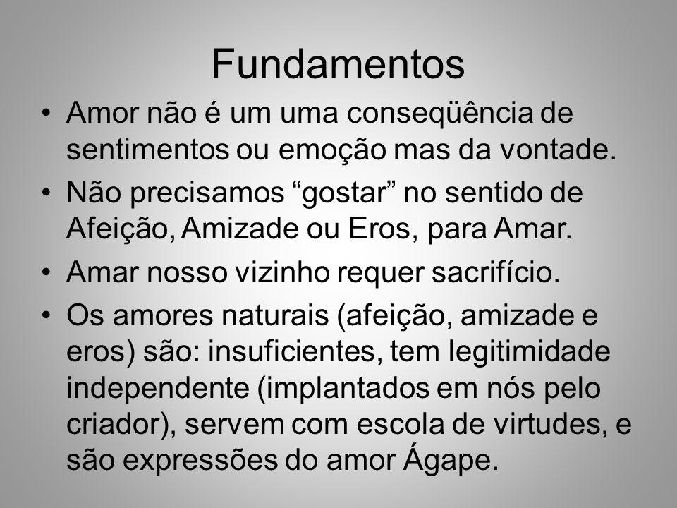 Fundamentos Amor não é um uma conseqüência de sentimentos ou emoção mas da vontade.