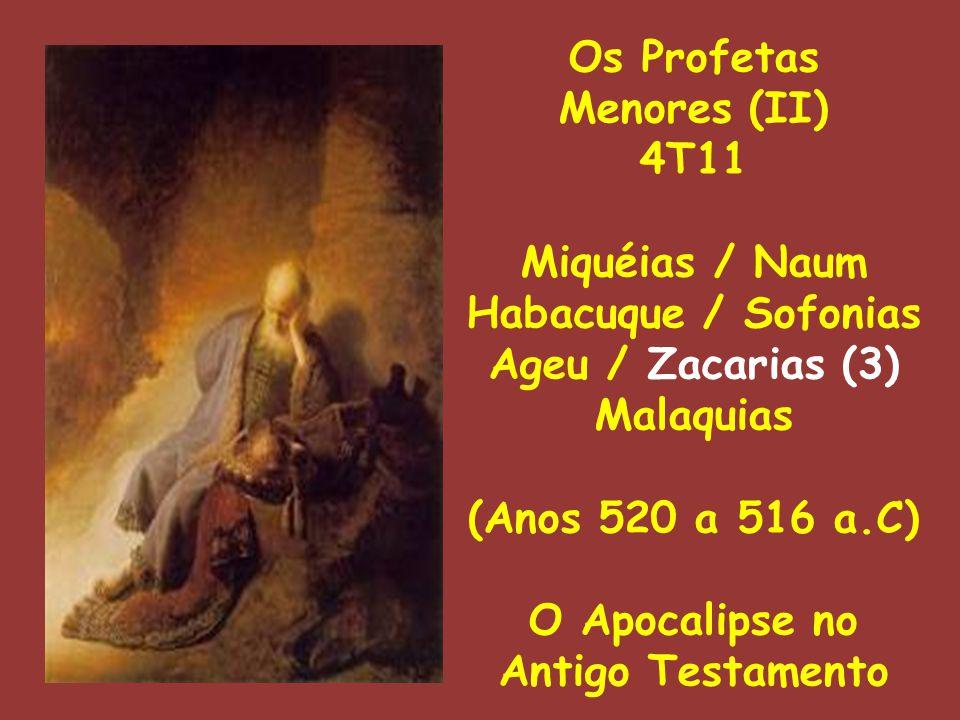 Os Profetas Menores (II) 4T11 Miquéias / Naum Habacuque / Sofonias Ageu / Zacarias (3) Malaquias (Anos 520 a 516 a.C) O Apocalipse no Antigo Testamento