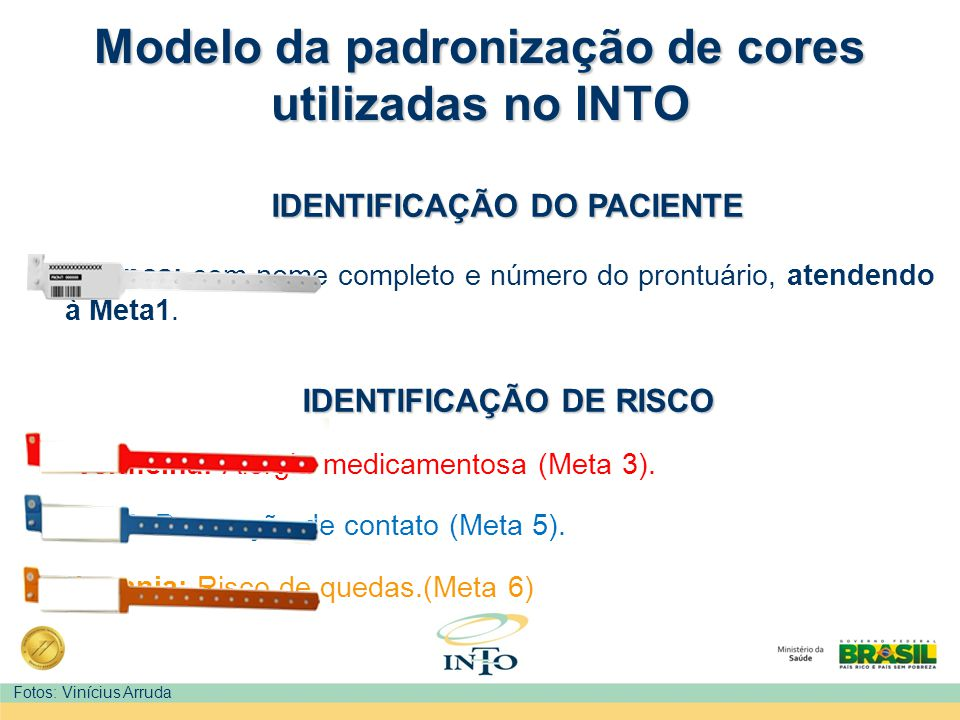 Modelo da padronização de cores utilizadas no INTO