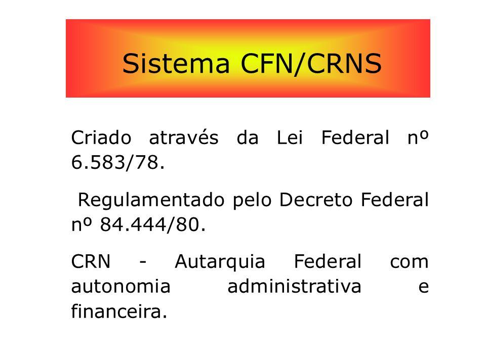 Sistema CFN/CRNS Criado através da Lei Federal nº 6.583/78.