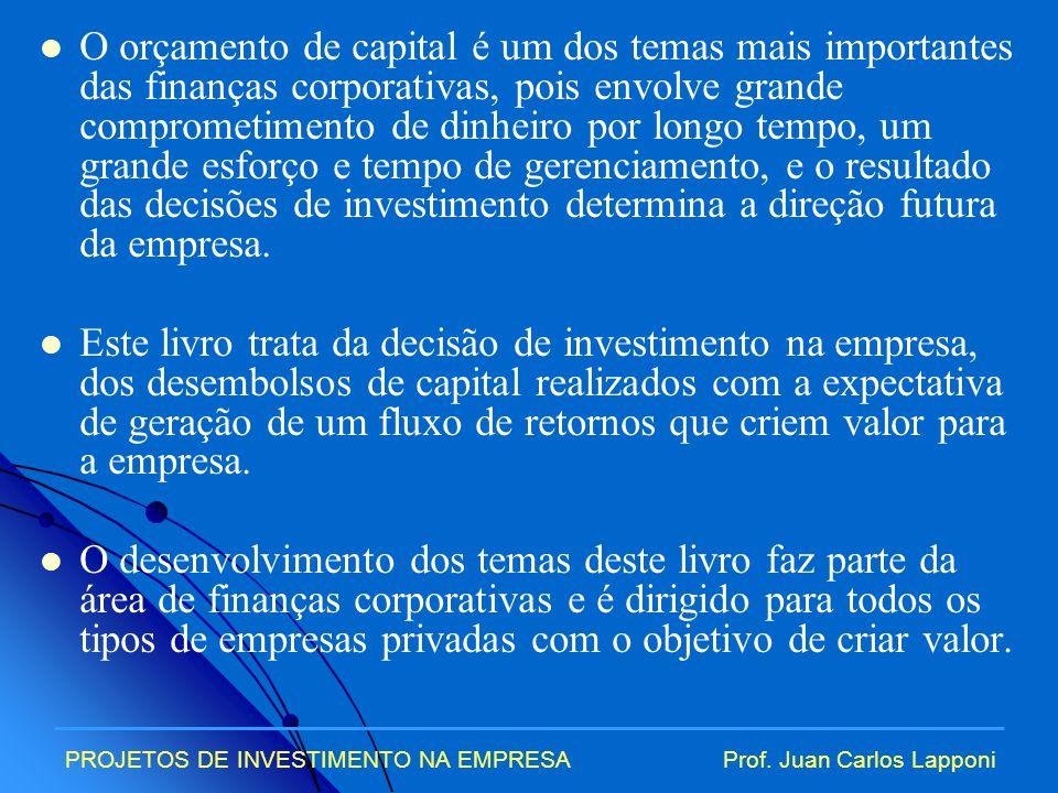 O orçamento de capital é um dos temas mais importantes das finanças corporativas, pois envolve grande comprometimento de dinheiro por longo tempo, um grande esforço e tempo de gerenciamento, e o resultado das decisões de investimento determina a direção futura da empresa.