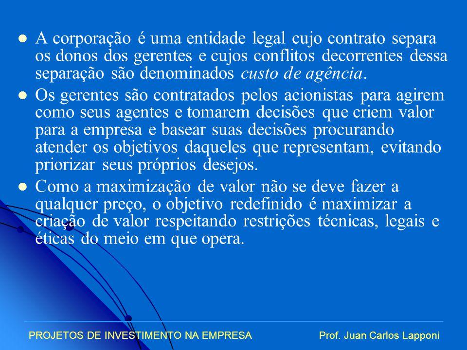 A corporação é uma entidade legal cujo contrato separa os donos dos gerentes e cujos conflitos decorrentes dessa separação são denominados custo de agência.