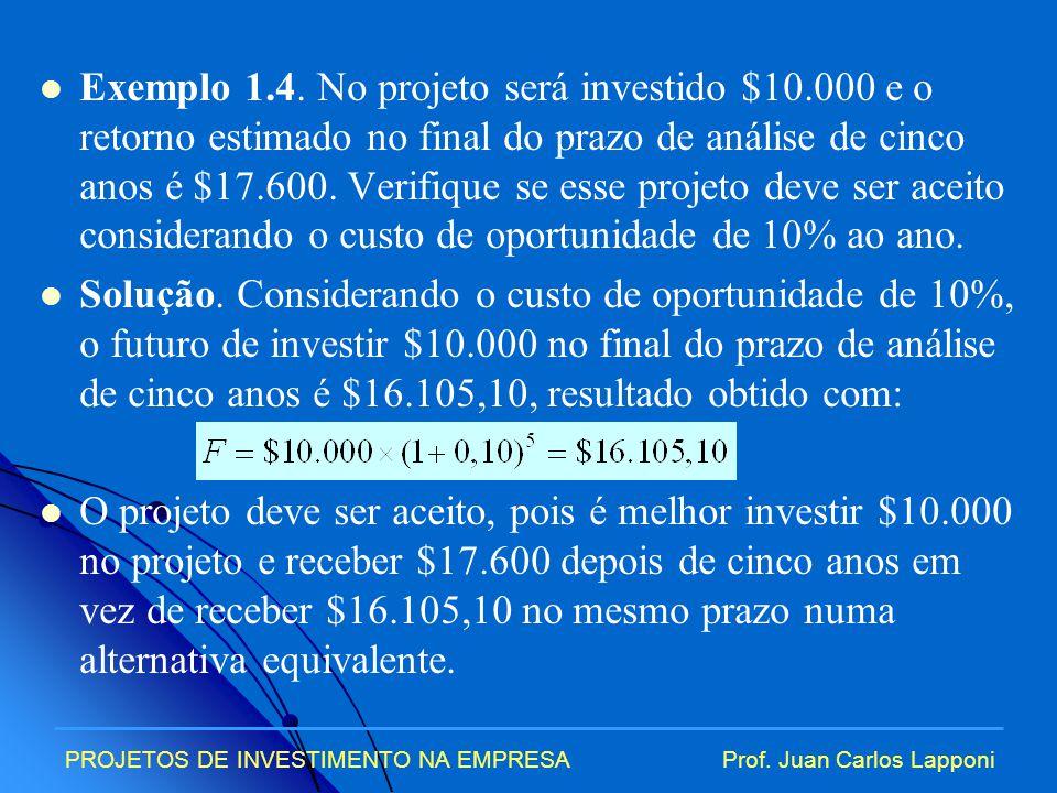 Exemplo 1. 4. No projeto será investido $10