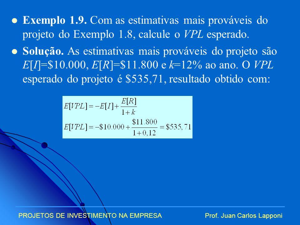 Exemplo 1.9. Com as estimativas mais prováveis do projeto do Exemplo 1.8, calcule o VPL esperado.