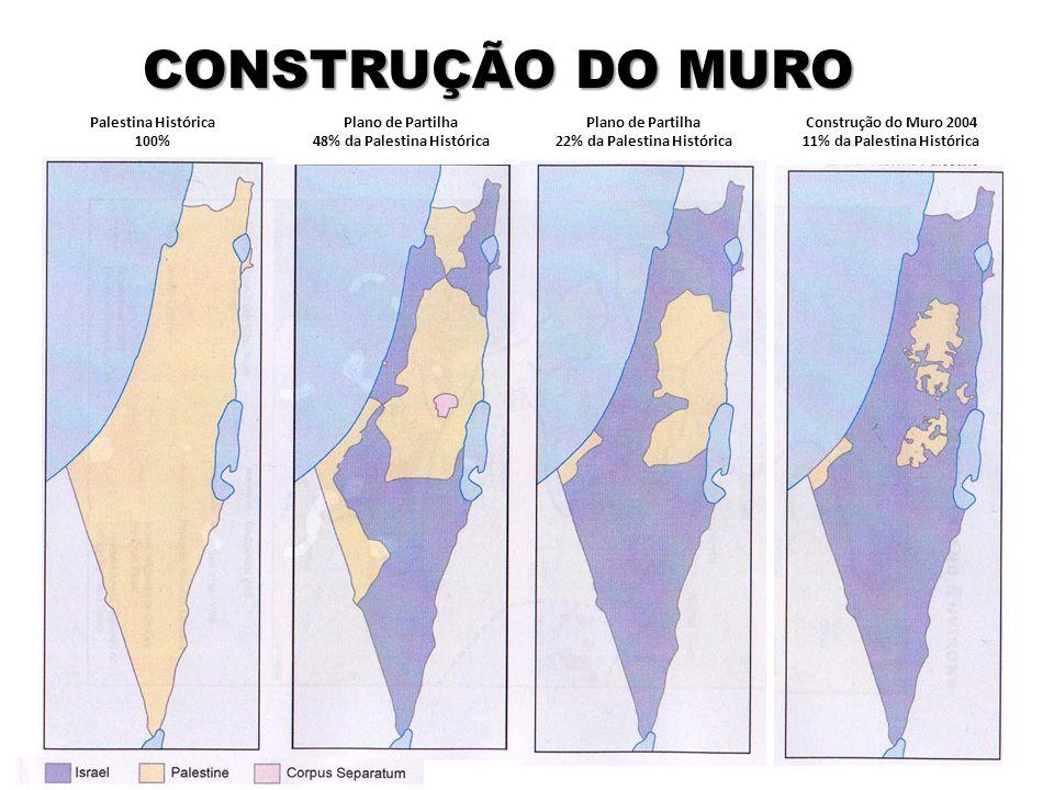 CONSTRUÇÃO DO MURO Palestina Histórica 100% Plano de Partilha