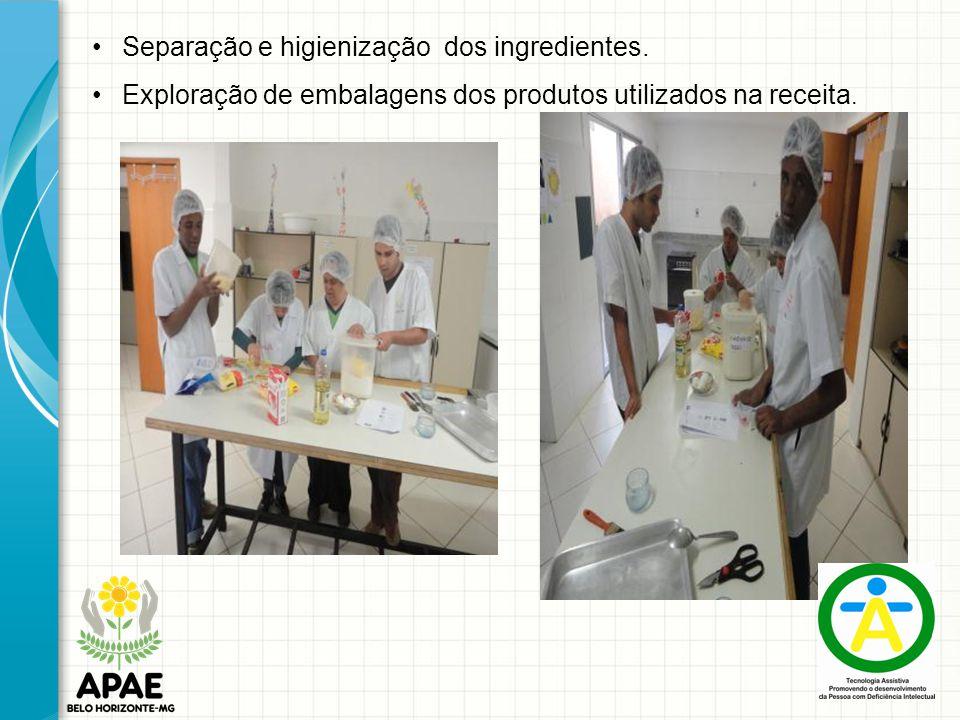 Separação e higienização dos ingredientes.