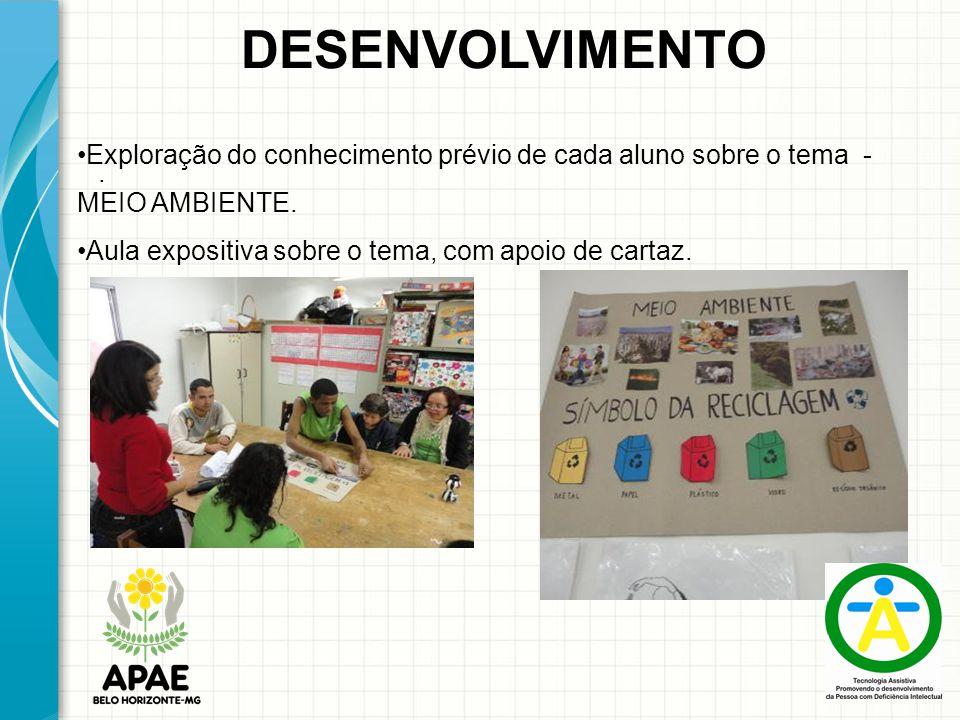 DESENVOLVIMENTO Exploração do conhecimento prévio de cada aluno sobre o tema - MEIO AMBIENTE. Aula expositiva sobre o tema, com apoio de cartaz.