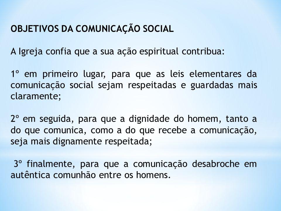 OBJETIVOS DA COMUNICAÇÃO SOCIAL