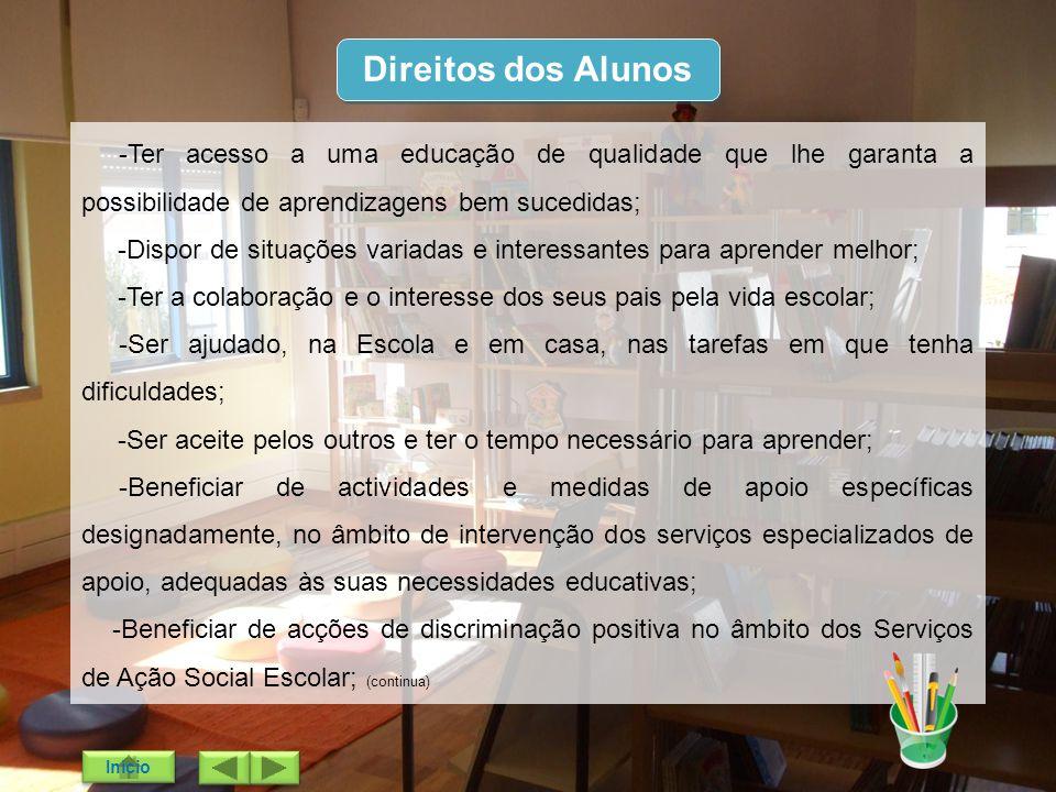 Direitos dos Alunos -Ter acesso a uma educação de qualidade que lhe garanta a possibilidade de aprendizagens bem sucedidas;