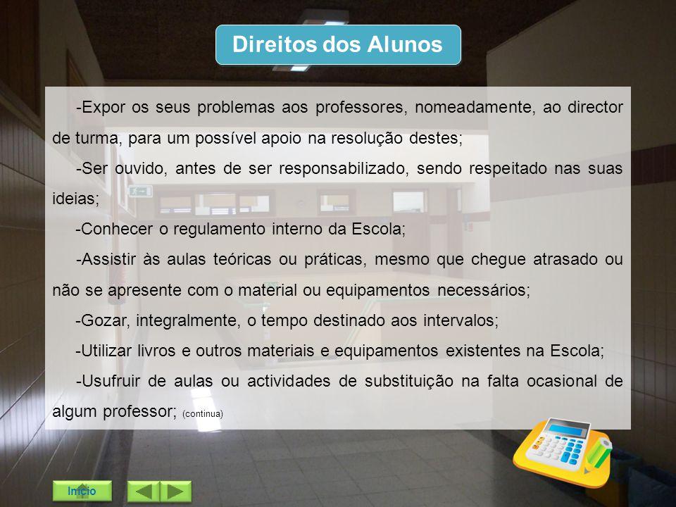 Direitos dos Alunos -Expor os seus problemas aos professores, nomeadamente, ao director de turma, para um possível apoio na resolução destes;