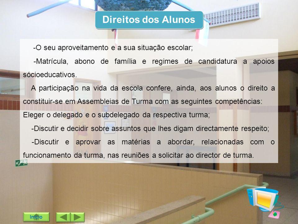 Direitos dos Alunos -O seu aproveitamento e a sua situação escolar;