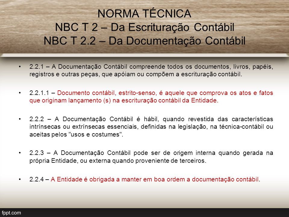 NORMA TÉCNICA NBC T 2 – Da Escrituração Contábil NBC T 2