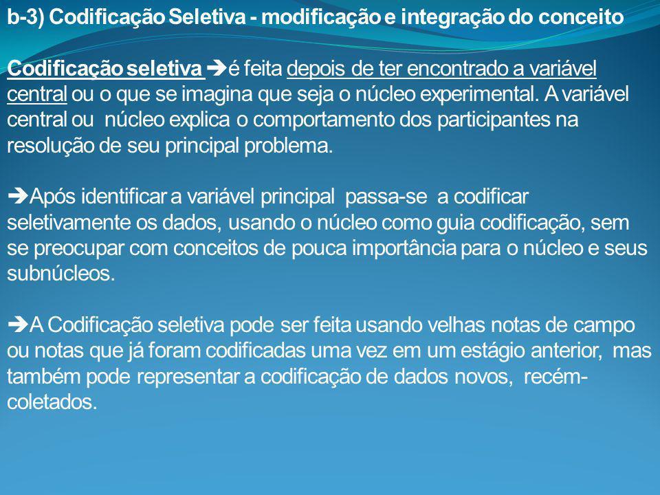 b-3) Codificação Seletiva - modificação e integração do conceito
