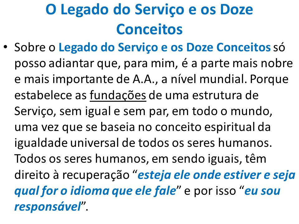 O Legado do Serviço e os Doze Conceitos