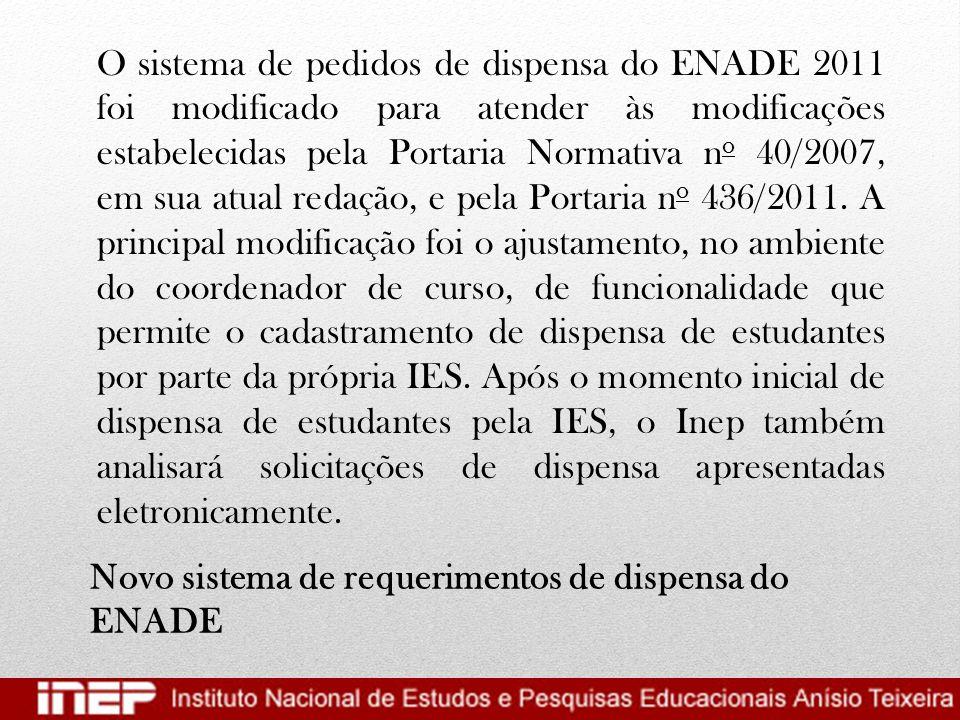 Novo sistema de requerimentos de dispensa do ENADE
