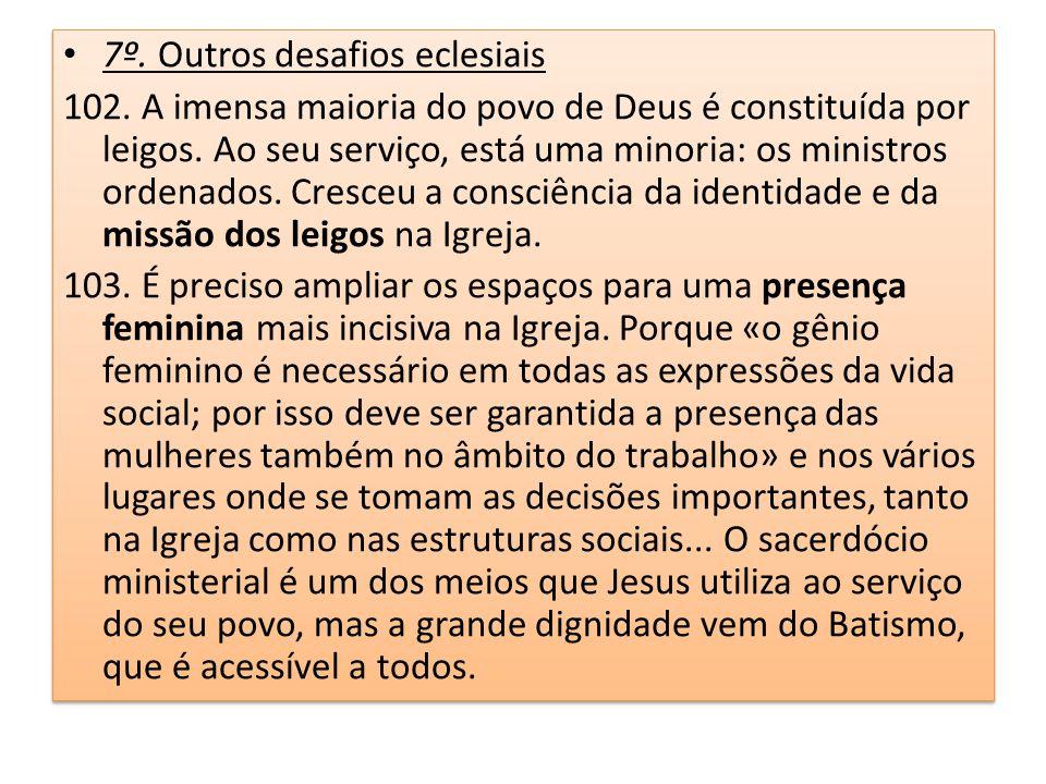 7º. Outros desafios eclesiais