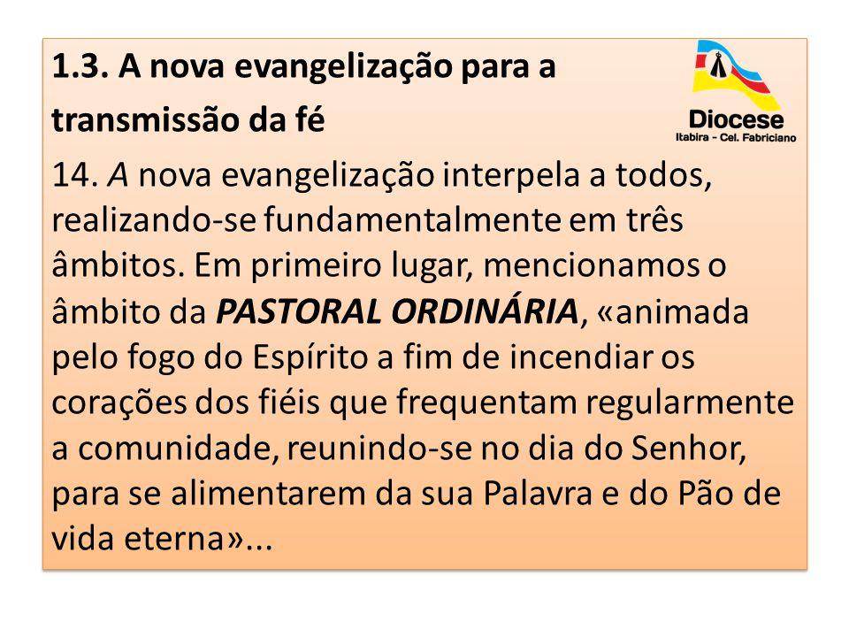 1. 3. A nova evangelização para a transmissão da fé 14