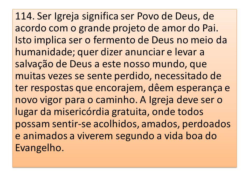 114. Ser Igreja significa ser Povo de Deus, de acordo com o grande projeto de amor do Pai.