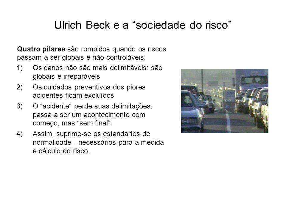 Ulrich Beck e a sociedade do risco Quatro pilares são rompidos quando os riscos passam a ser globais e não-controláveis: