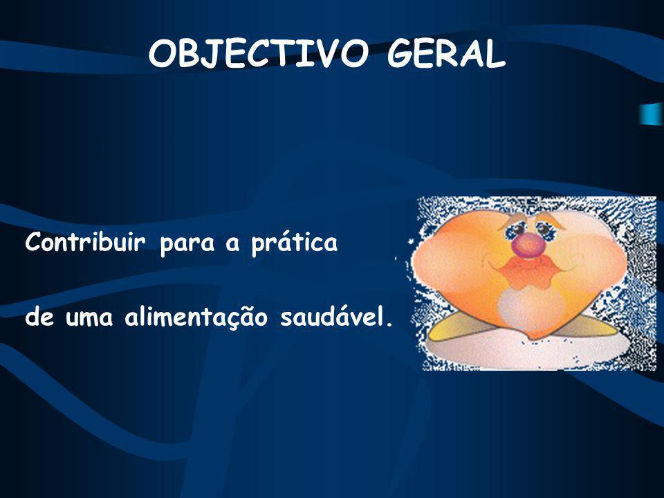 OBJECTIVO GERAL Contribuir para a prática de uma alimentação saudável.