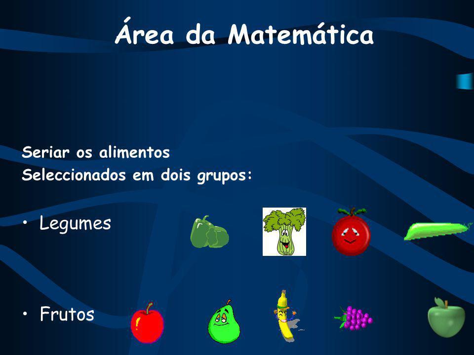Área da Matemática Legumes Frutos Seriar os alimentos