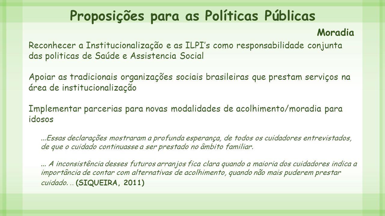 Proposições para as Políticas Públicas