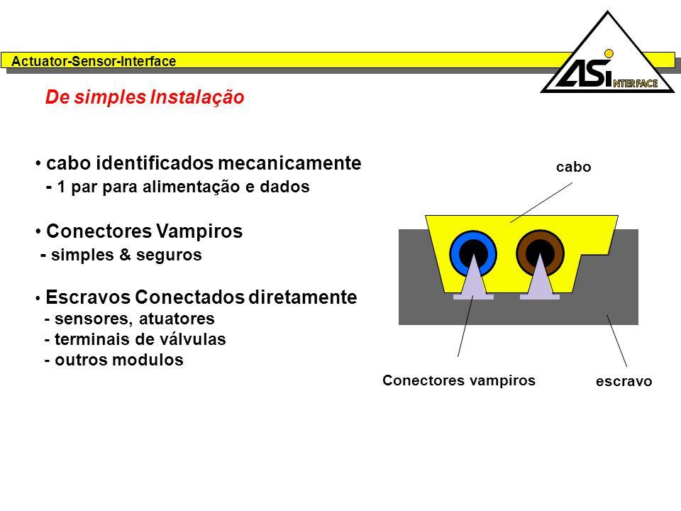 cabo identificados mecanicamente - 1 par para alimentação e dados