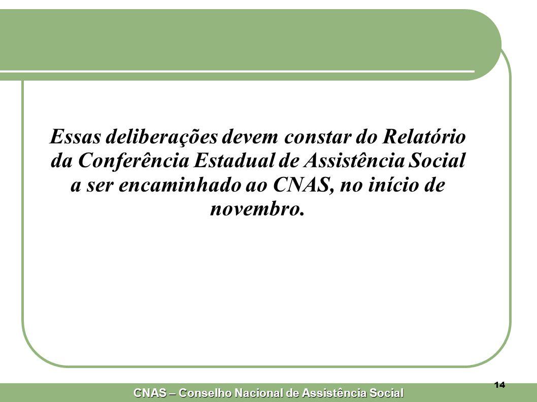 Essas deliberações devem constar do Relatório da Conferência Estadual de Assistência Social a ser encaminhado ao CNAS, no início de novembro.