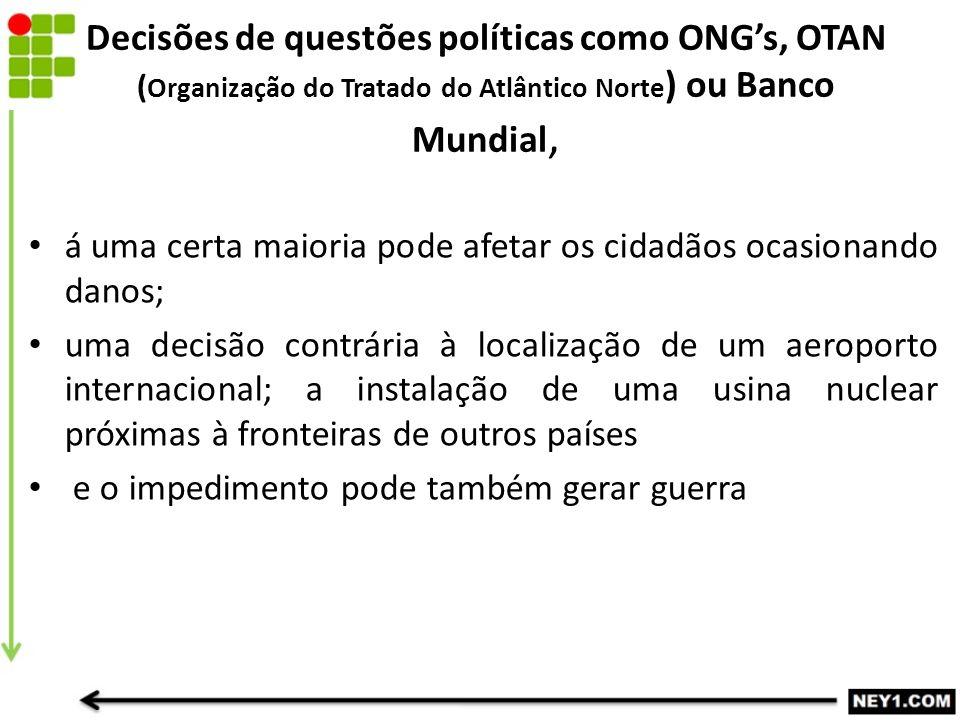 Decisões de questões políticas como ONG's, OTAN (Organização do Tratado do Atlântico Norte) ou Banco Mundial,