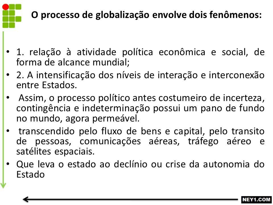 O processo de globalização envolve dois fenômenos: